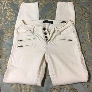 Cream Bullhead Zipper Jeans