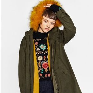 Zara parka with faux fur hoodie