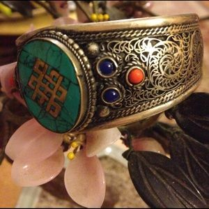 Vintage inlay turquoise cuff
