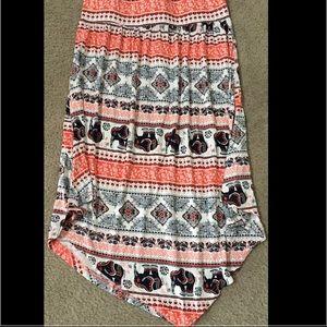 Pink printed maxi skirt