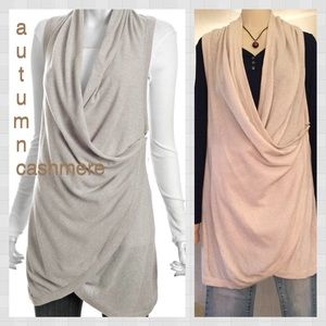 Autumn Cashmere Sweaters - AUTUMN CASHMERE Draped Cream Long Sweater Vest