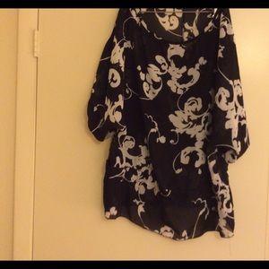 Goddess Tops - Black with sheer tunic
