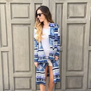 Sweaters - blue patterned cardigan
