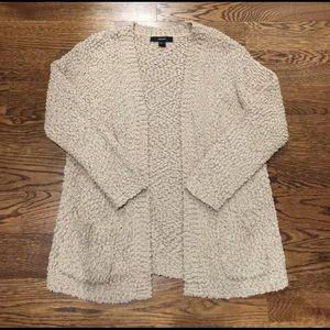 Beige Fuzzy Cardigan Sweater