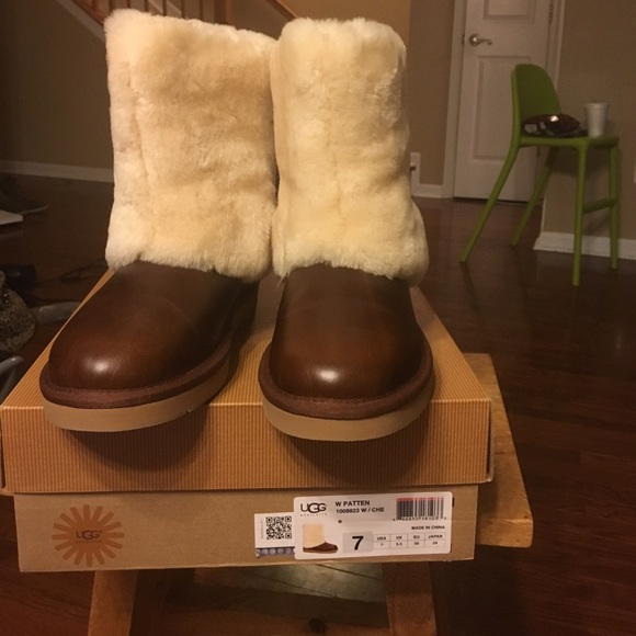 424457014fd W patten uggs chestnut leather size 7 NWT