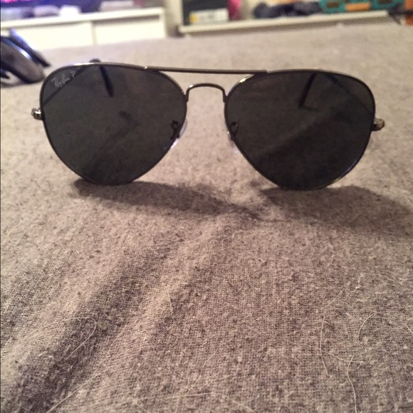 black and silver aviators  64% off Ray-Ban Other - Ray Ban Aviator Black and Silver from ...