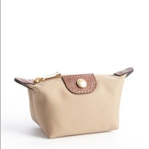 Longchamp Handbags - Longchamp beige nylon 'Le Pliage' coin purse