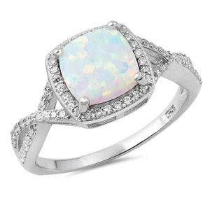 Jewelry - Cushion White Opal Silver Ring✨