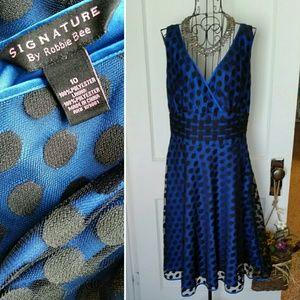 Robbie Bee Dresses & Skirts - Robbie Bee Blue Mesh Polka Dot Dress