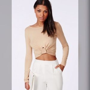Missguided Tops - Missguided Camel Knot Front Jersey Crop Top