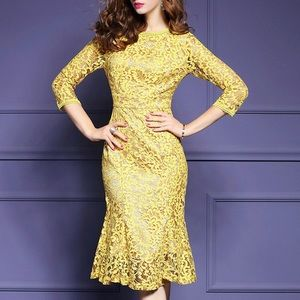Dresses & Skirts - Fishtail yellow French lace dress