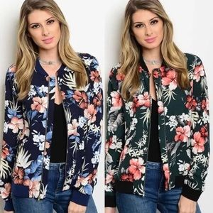 Jackets & Blazers - Tropical floral bomber jacket