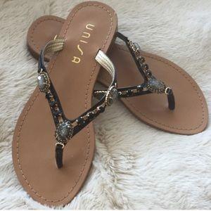 Unisa Shoes - 🚨SALE! Unisa Bejeweled Crystal Black Flip Flops