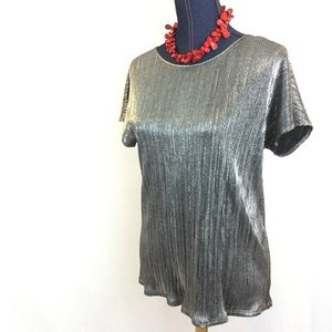 NY Collection Tops - New NY COLLECTION Silver Medium Short Sleeve Top