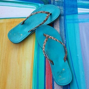 Cobian Shoes - Bethany aqua blue flip flops with arch support