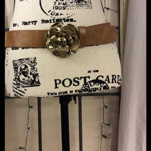 Betsey Johnson Accessories - Betsey Johnson belt w/ large goldtone rose buckle