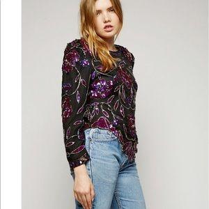 Tops - Beautiful vintage sequin embellished  floral top