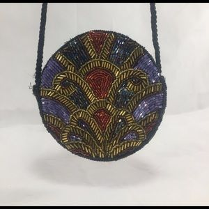 Handbags - Gorgeous Beaded Round Mini- Shoulder Bag