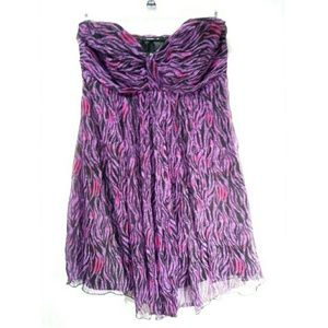 Express Purple Strapless Mini Dress 100% Silk size