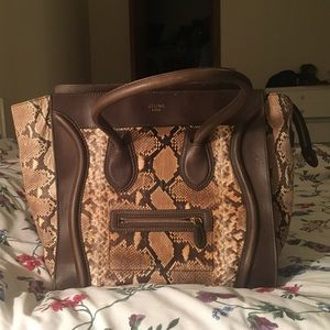 Celine Handbags - Authentic Celine Python Luggage Handbag