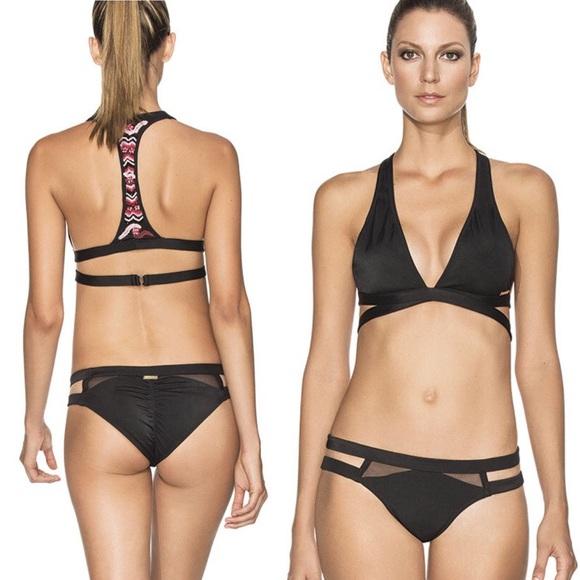 eee88b29d9357 Agua bendita bikini top swim suit beaded black