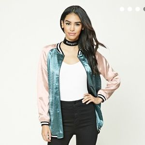 Teal & Pink Satin Bomber Jacket