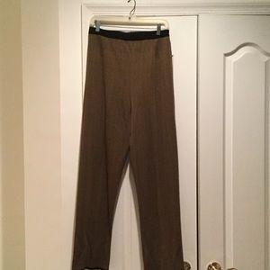 Misook Pants - Herringbone brown black stretch pant elastic waste