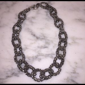 J.Crew silver link necklace with crystals