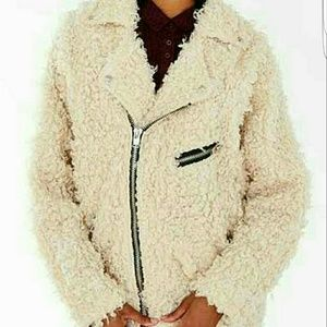 Unif poodle moto jacket in white