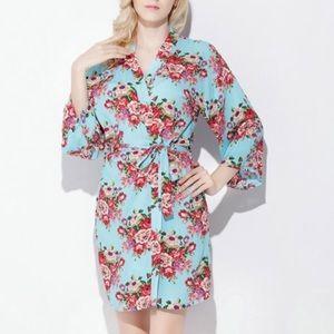 21bd0f32e9fc2 Floral Cotton Robe (Caribbean Blue). Boutique