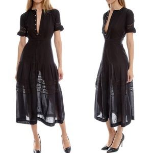 Love shack fancy black midi dress