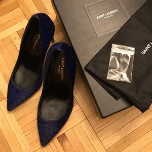 Saint Laurent Shoes - Brand New Saint Laurent blue leopard heels