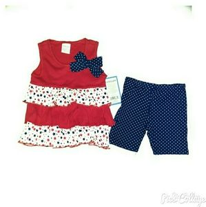 Little Lass Other - Little Lass Red White and Blue 2PC Outfit - NWT