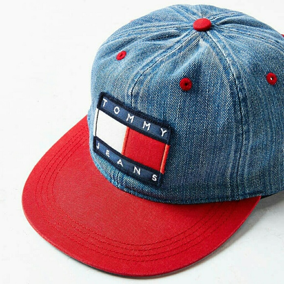 Tommy Hilfiger colorblock distressed denim hat 21b3e52a7dca