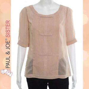 Paul & Joe Tops - PAUL & JOE SISTER Sheer Pintucked Bow Front Blouse