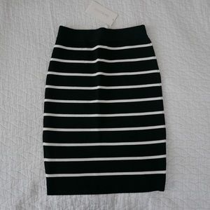 Black and white stripe bandage skirt NWT