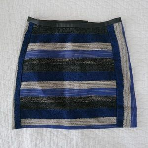 Blue black white stripe skirt with faux leather