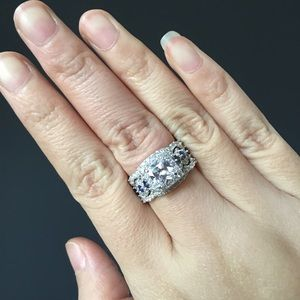 Jewelry - ❤️3pcs real 925 silver engagement wedding ring set