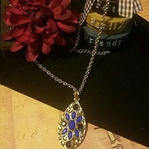 Influence  Jewelry - Hammered Gold Pendant w/Royal Blue Cobochons