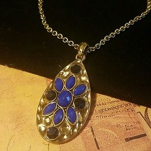 Hammered Gold Pendant w/Royal Blue Cobochons
