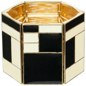Amrita Singh Jewelry - Black & Ivory Tina Stretch Gold Cuff