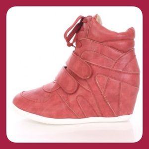 Reneeze Shoes - Red Wedge Sneakers
