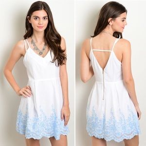 🌟SALE🌟 White Sky Blue Embroidered Lace Sun Dress