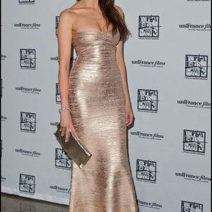 Herve Leger Dresses & Skirts - FINAL PRICE!! Herve Leger Gold Long Dress