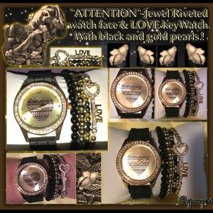 """Accessories - """"ATTENTION"""" Jewel riveted Love key & pearl Watch."""