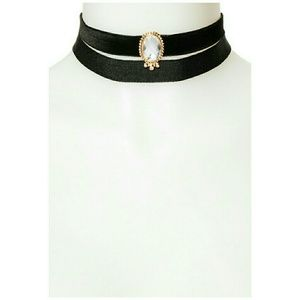 Prince Jewelry - 2-Piece Black Velvet Stone Choker Set