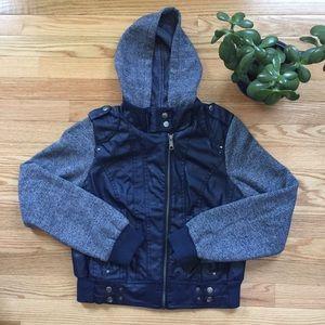 New Look Jackets & Blazers - New Look Vegan Leather Hooded Moto Jacket