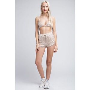 Three Wolves Shorts - Sequin Stars Two Piece Festival Outfit - Silver