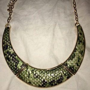 Gold & Snakeskin Statement Necklace
