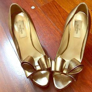 Authentic Valentino Bow Heel Gold